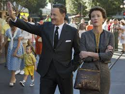 Walt (Hanks) and Mrs. Travers (Thompson) walk the park, their differences clear in their posture