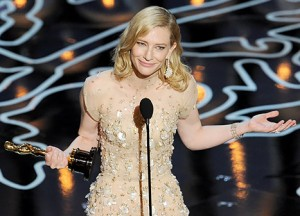 Cate Blanchett accepting her award for Best Actress