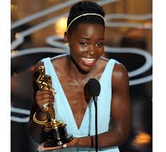Lupita Nyong'o accepting award for Best Supporting Actress