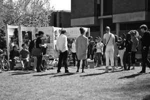 "People milling about ""The Surface"" on Princeton's campus, April 2014"