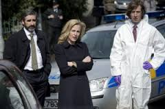 Burns (John Lynch), Stella, and a CSI guy at a scene