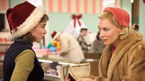 Therese (Mara) and Carol (Blanchett) in their first encounter